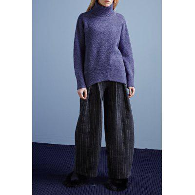 Uneven Hem Turtleneck Sweater