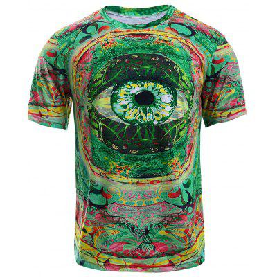 Buy COLORMIX Color Block 3D Eye Print Round Neck Short Sleeve T-Shirt For Men for $10.19 in GearBest store