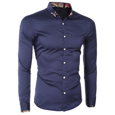 Buy CADETBLUE Printed Hem Spliced Turn-Down Collar Long Sleeve Shirt For Men for $13.12 in GearBest store