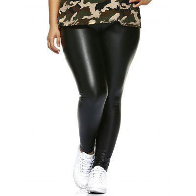 Plus Size Faux Leather Fleece Lined Leggings