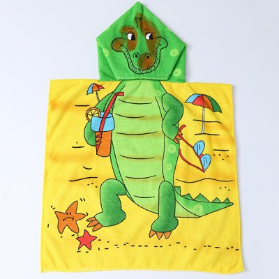 Cute Cartoon Dinosaur and Beach Pattern Hooded Beach Towel For Kids