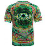 Color Block 3D Eye Print Round Neck Short Sleeve T-Shirt For Men - MULTICOLORE
