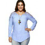 Buy Plus Size Lace Hollow Blouse 2XL LIGHT BLUE