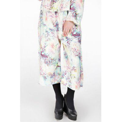 Zipper Fly Flower Print Wide Leg Pants