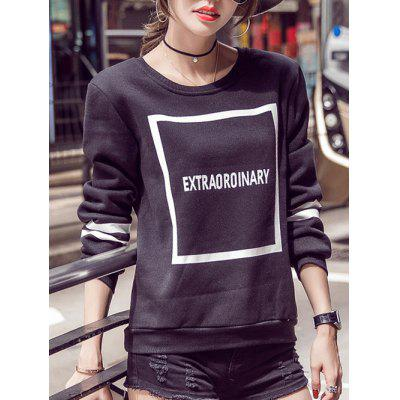 Letter Long Sleeve Jewel Neck Sweatshirt