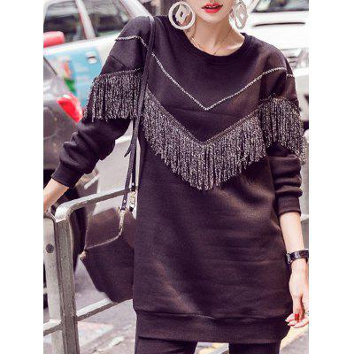 Tassels Long Sleeve Jewel Neck Sweatshirt