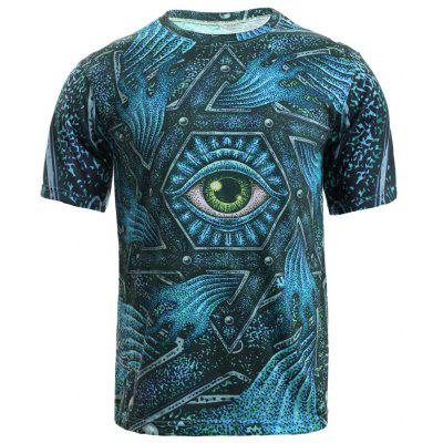 Buy BLUE 3D Geometric and Print Round Neck Short Sleeve T-Shirt For Men for $11.59 in GearBest store