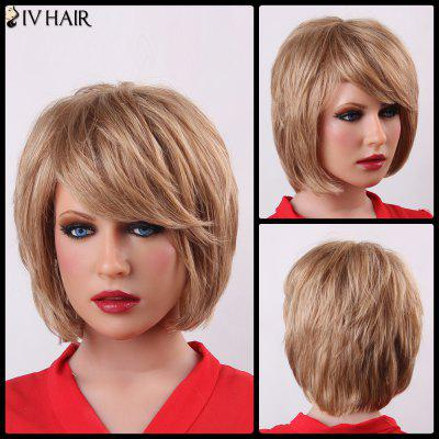 Buy BROWN WITH BLONDE Fluffy Short Layered Siv Hair Trendy Natural Straight Capless Human Hair Wig For Women for $71.69 in GearBest store