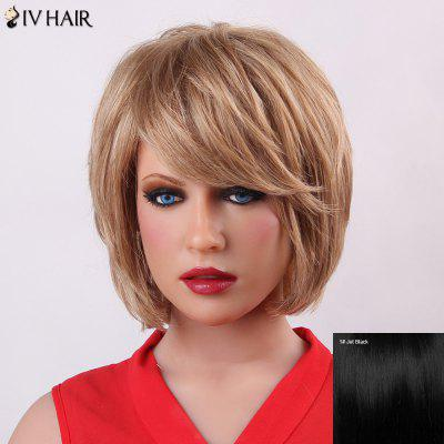 Buy JET BLACK Fluffy Short Layered Siv Hair Trendy Natural Straight Capless Human Hair Wig For Women for $71.69 in GearBest store
