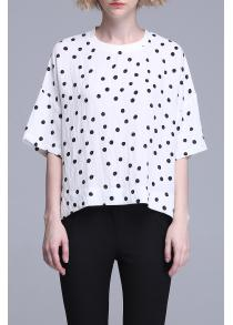 Polka Dot Print Drop Shoulder Tee