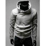 IZZUMI Side Zip Up Long Sleeve Neck Hoodie - LIGHT GRAY