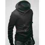 IZZUMI Side Zip Up Long Sleeve Neck Hoodie - BLACK