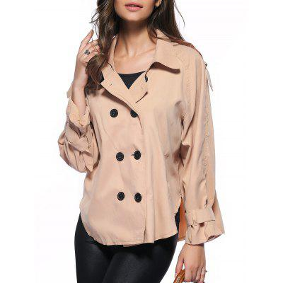 Trendy Pure Color Double-Breasted Loose Trench Coat
