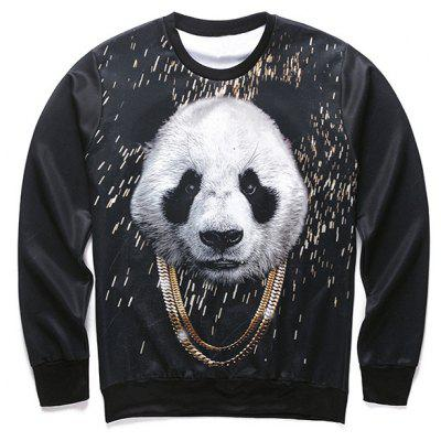 3D Panda and Gold Chain Print Round Neck Long Sleeve Sweatshirt For Men