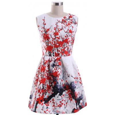 Ladylike Round Neck Sleeveless Plum Blossom Print Women's Dress