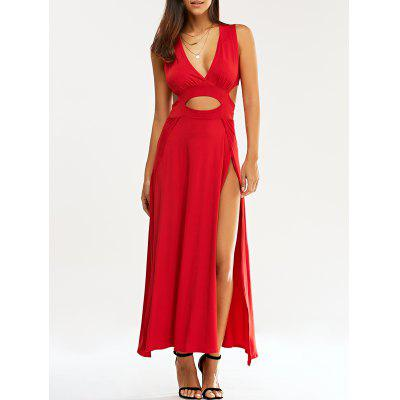 Cut Out High Slit Braless Dress
