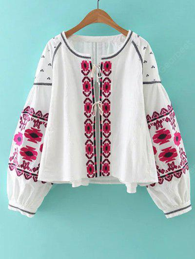 Bohemian Style Embroidery Lace Up Jacket