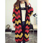 cheap Fashionable Hit Color Zig-Zag Cardigan