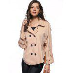 Escudo de moda Pure color doble de pecho flojo Trench - CAQUI