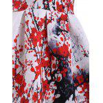 Ladylike col rond manches Plum Blossom Imprimer Women Dress  's - ROUGE