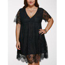 Plus Size Lace Short Cocktail Dress