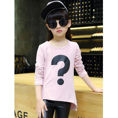 Cute High Low Punctuation Print T-Shirt For Girl