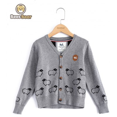 V-Neck Sheep Pattern Cardigan