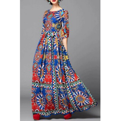 Colorful Geometric Evening Dress