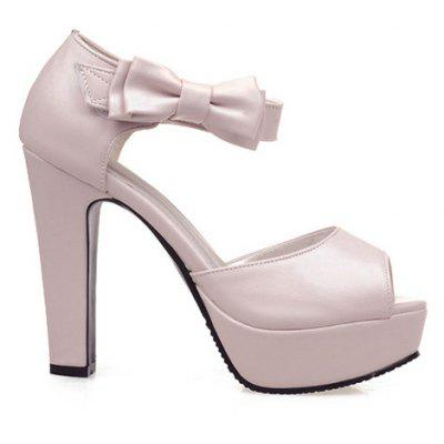 Sweet Chunky Heel and Bowknot Design Sandals For Women