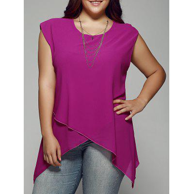 Buy ROSE RED Plus Size Asymmetrical Chiffon Blouse for $17.69 in GearBest store