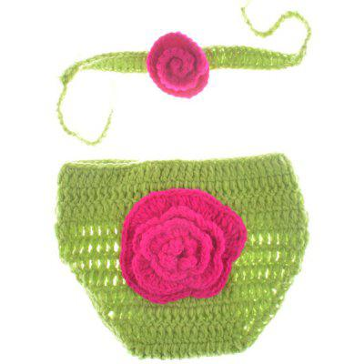 Knitted Flower Design Photography Clothes Set For Baby