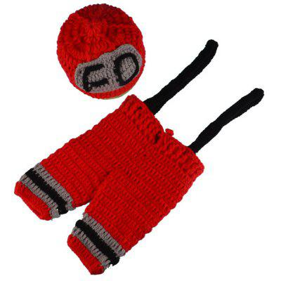 Crochet Fireman Overalls Photography Clothes Set For Baby