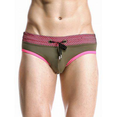 Stylish Mesh Hem Design Color Block Spliced Swimming Briefs For Men