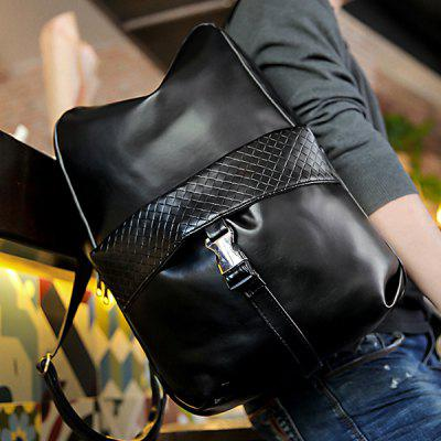 Buy BLACK Trendy Solid Colour and Plaid Pattern Design Backpack For Men for $25.62 in GearBest store