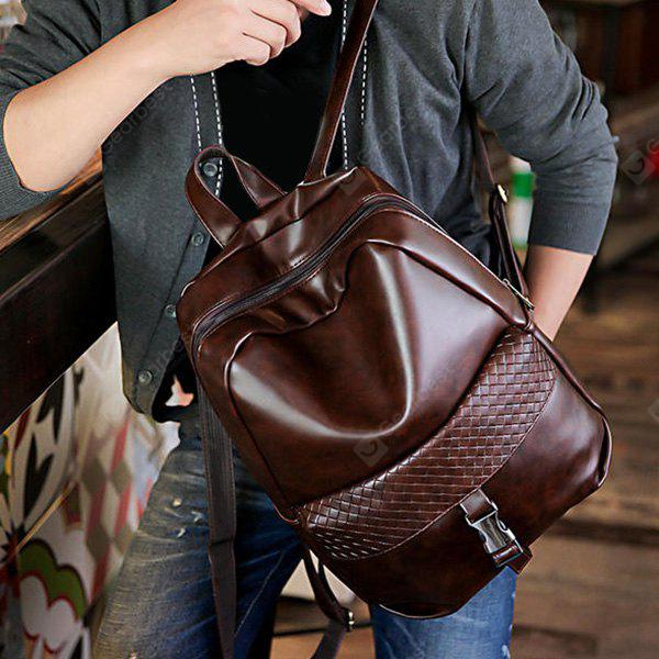 DEEP BROWN Trendy Solid Colour and Plaid Pattern Design Backpack For Men