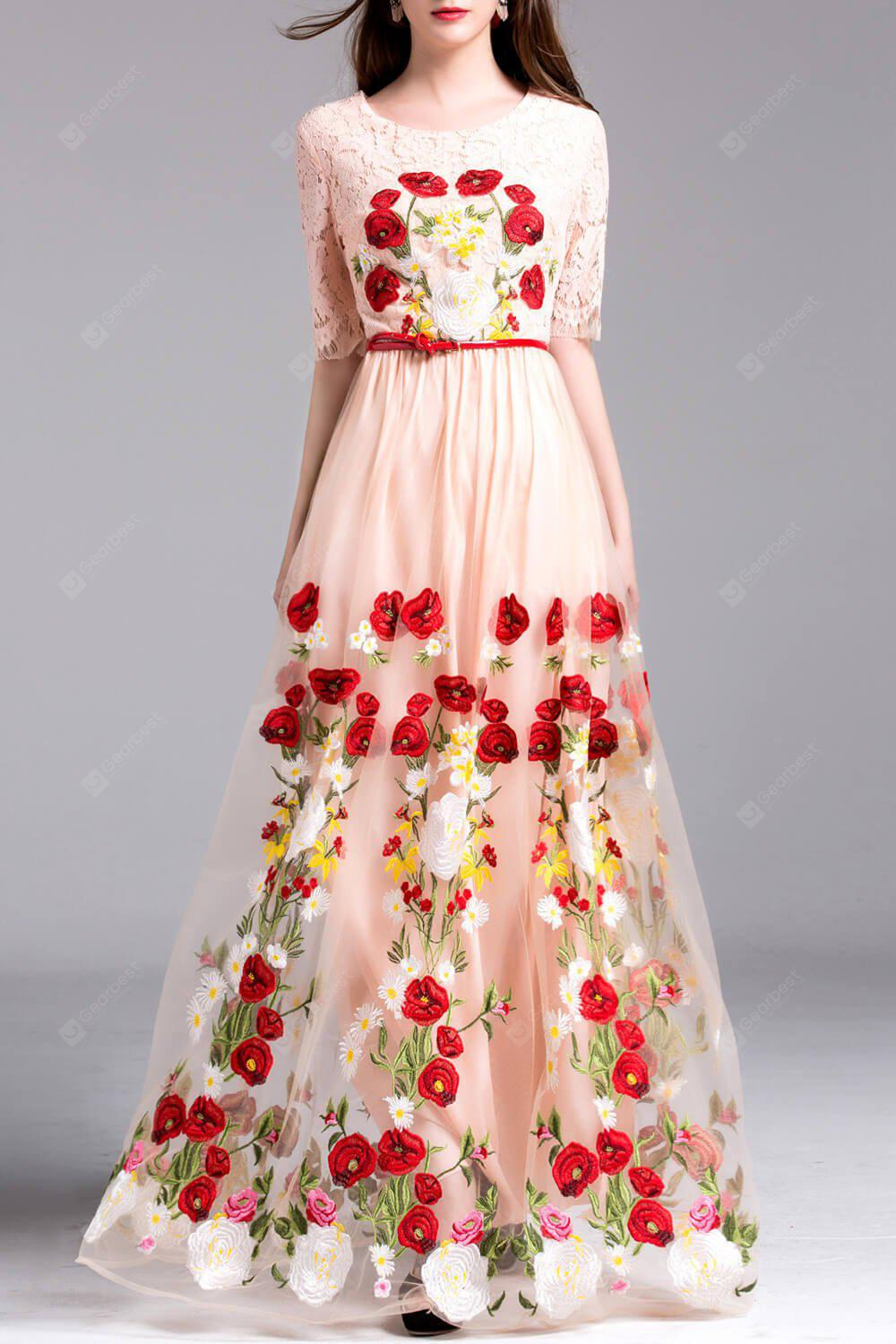 Embroidery Lace Insert Maxi Tulle Dress