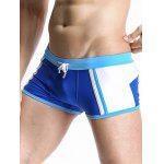 Casual Color Block Drawstring Waistband Design Swimming Trunks For Men - BLUE