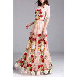 Embroidery Lace Insert Maxi Tulle Dress - PINK