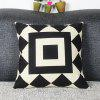 Mordern Style Geometric DIY Home Sofa Square Diamond Mouldproof Pillow Case - WHITE AND BLACK
