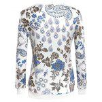 Chic Paisley Print Round Neck Long Sleeve Women's Sweatshirt - WHITE