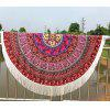 Mandala Floral Printed Tasseled Tablecloth Round Beach Throw - RED