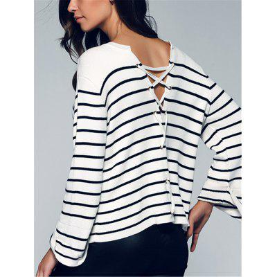Back Lace-Up Striped Sweater