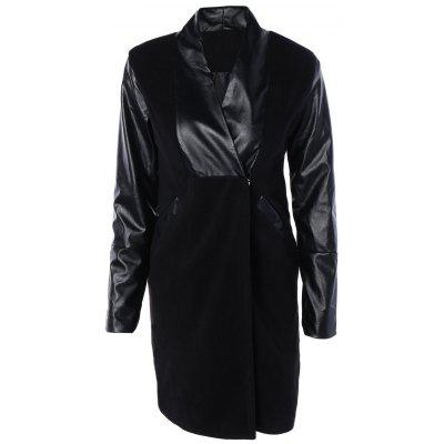 PU Leather Spliced Long Wool Coat