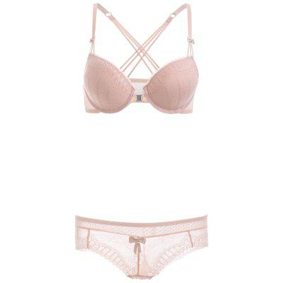 Front Closure Criss-Cross Lace Bra Set