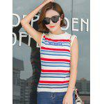Trendy Striped Color Block Knitwear - WHITE