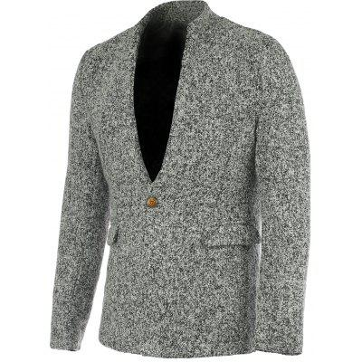 Stylish Stand Collar Long Sleeve Gray Melange Wool Blazer For Men