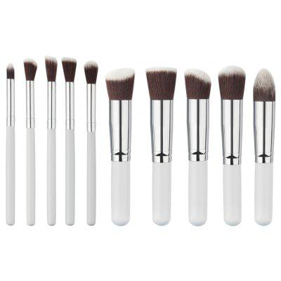 Stylish 10 Pcs Nylon Facial Eye Makeup Brushes Set