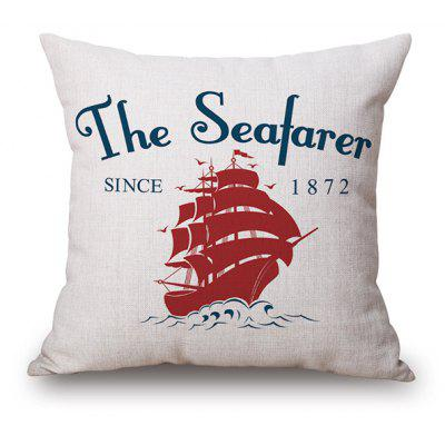 Sailing Boat Letter Print Linen Cushion Cover Pillow Case
