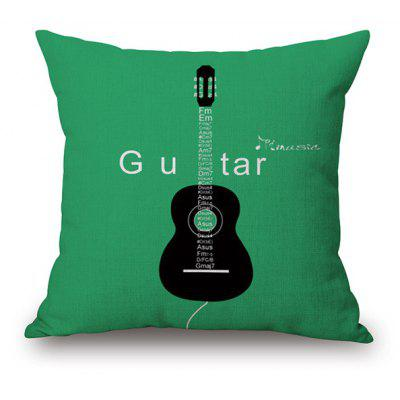 Concise Guitar Pattern Linen Back Cushion Pillow Case
