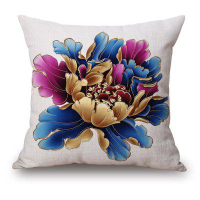 Chinese Style Peony Blossom Sofa Cushion Pillow Case